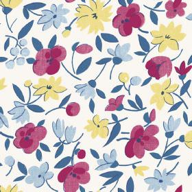 Golden Cap (Cotton) - 2 - White cotton fabric featuring a simple floral design in light blue, purple-red and yellow, with blue leaves
