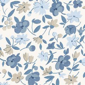 Golden Cap (Cotton) - 3 - A floral design in grey and different shades of blue, printed on a white cotton fabric background