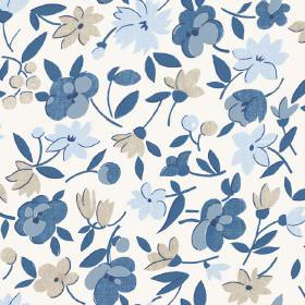 Golden Cap (Cotton) - 4 - Cotton fabric printed with a simple floral design in grey and three different shades of blue
