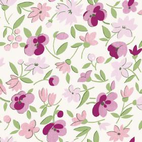 Golden Cap (Linen Union) - 5 - Linen fabric printed with flowers and leaves in bright green and several different shades of pink
