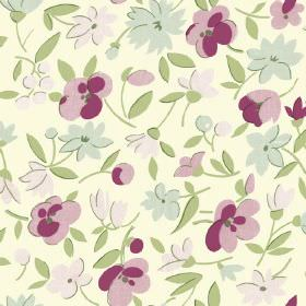 Golden Cap (Cotton) - 6 - Cream cotton fabric as a background for a pattern of flowers in different shades of green and pink