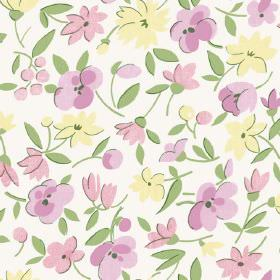 Golden Cap (Cotton) - 7 - Light pink and cream coloured flowers printed with green leaves on white cotton fabric