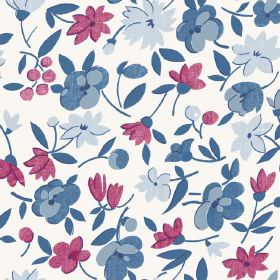 Golden Cap (Linen Union) - 8 - Dark blue, light blue and marroon flowers and leaves printed on white linen fabric