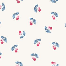 Burton Cliffs (Linen Union) - 1 - Berries in pink and red with blue leaves printed on a white linen fabric background