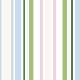 Chesil Beach (Cotton) - 4 - Blue, light green, dark green and light pink stripes printed on a white cotton fabric background
