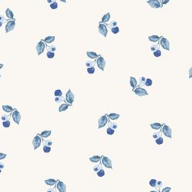 Burton Cliffs (Cotton) - 2 - Cotton fabric printed with a pattern of berries and leaves in different shades of blue