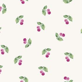Burton Cliffs (Cotton) - 3 - Pairs of cherry-type berries in light and dark pink, printed with green leaves on fabric made from white cotton