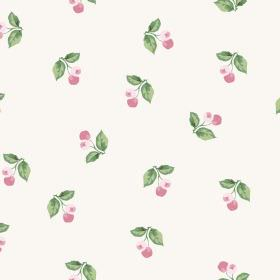 Burton Cliffs (Linen Union) - 4 - Light pink cherry-type berries adorned with green leaves printed repeatedly over white linen fabric