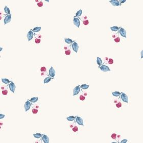 Burton Cliffs (Cotton) - 5 - White cotton fabric as a background for a pattern of blue leaves and berries in dark and light pink