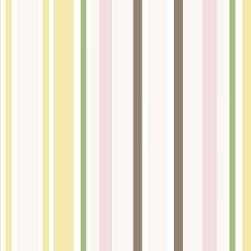 Chesil Beach (Linen Union) - 5 - Pastel striped linen fabric featuring vertical bands of brown, yellow, white, pink and green