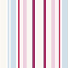 Chesil Beach (Linen Union) - 6 - Light blue stripes between bands of different shades of pink and red, printed on white linen fabric