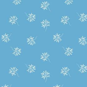 Lichen (Linen Union) - 2 - Line drawings of individual white flowers printed repeatedly over sky blue coloured linen fabric