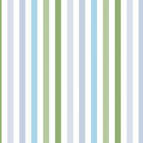 Emma Stripe (Cotton) - 4 - White cotton fabric with a design of even stripes which fade through various shades of blue and green from light