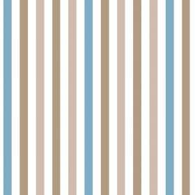 Emma Stripe (Linen Union) - 5 - Striped linen fabric featuring evenly sized and spaced bands of white, brown, pink-brown and sky blue