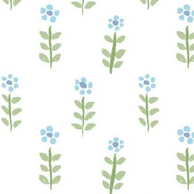 Teatime (Cotton) - 1 - Stylised blue flowers with green stems and leaves printed on white cotton fabric