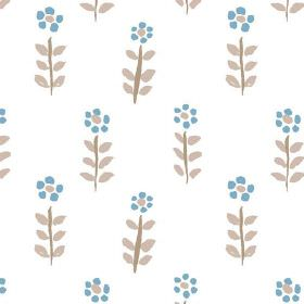 Teatime (Cotton) - 2 - A repeated design of blue flowers and brown leaves on a white cotton fabric background
