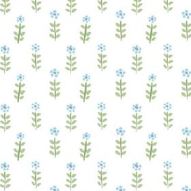 Teatime Miniature (Cotton) - 1 - Small, stylised blue flowers with green leaves and stems on a background of white cotton
