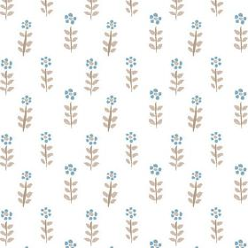 Teatime Miniature (Cotton) - 2 - White cotton fabric printed with small, stylised flowers in blue with brown stems and leaves