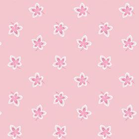 New Ivy (Cotton) - 1 - Rose pink and white flowers printed on light pink cotton fabric