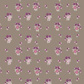 Vera (Cotton) - 1 - Clusters of bright purple and pink flowers on a brown cotton fabric background