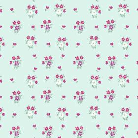 Vera (Linen Union) - 2 - Groups of white, purple and pink flowers on a light blue linen fabric background