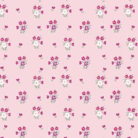 Vera (Linen Union) - 3 - Small white, pink and purple flowers clustered and printed on fabric made from light pink linen
