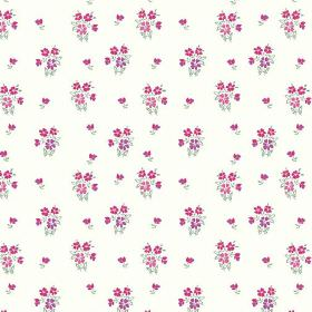 Vera (Cotton) - 4 - Floral print cotton fabric in bright pink, purple and grey over a white background