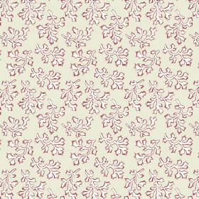 Coral (Linen Union) - 1 - White shapes which resemble leaves edged in red, printed on a light cream-grey cotton fabric