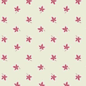 New Ivy (Linen Union) - 4 - Linen fabric in cream-grey with a floral design in red and white colours