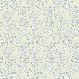 Coral (Linen Union) - 3 - Linen fabric with an unusual leaf type print design in grey, white and light blue