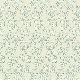 Coral (Cotton) - 4 - A pattern of green-edged white leaf type shapes printed on very pale green-grey cotton fabric