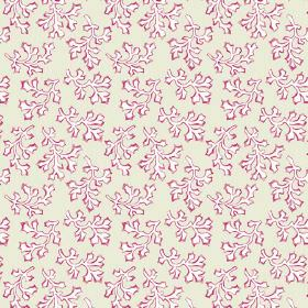 Coral (Cotton) - 5 - Red-edged white leaf shapes printed on pale green-grey cotton fabric