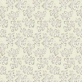 Coral (Linen Union) - 6 - An unusual pattern of white and dark green leaves printed on light green-grey linen fabric