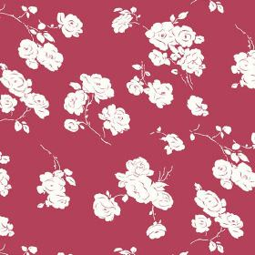 Georgia (Linen Union) - 1 - Linen fabric featuring a design of white roses on a red background