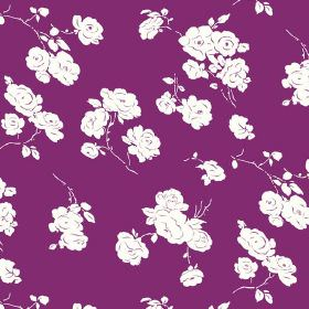 Georgia (Linen Union) - 2 - White roses printed on a bright purple linen fabric background