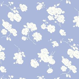 Georgia (Cotton) - 3 - Plain white roses printed repeatedly over pale blue-lilac cotton fabric