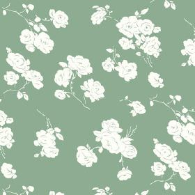 Georgia (Linen Union) - 4 - Green linen fabric as a background for a white rose print pattern