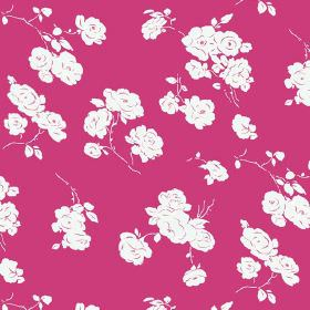 Georgia (Cotton) - 5 - Bright pink fabric made from cotton, with a pattern of roses in white