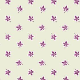 New Ivy (Linen Union) - 5 - Bright purple and white flowers printed on linen fabric in a cream-grey shade