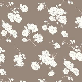Georgia (Linen Union) - 6 - White roses printed on a background of plain brown fabric made from cotton