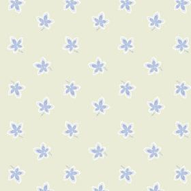 New Ivy (Linen Union) - 6 - Flowers in pale blue and white against a background of cream-grey linen fabric