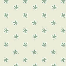 New Ivy (Cotton) - 7 - A small green and white floral design printed on cotton fabric in cream-grey