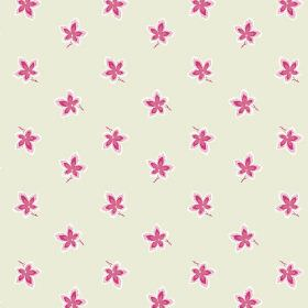 New Ivy (Cotton) - 8 - Individual bright pink and white flowers with a background of cream-grey cotton fabric background