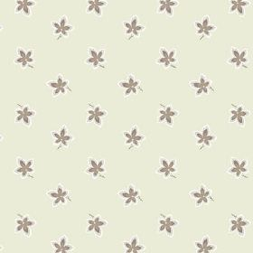 New Ivy (Linen Union) - 9 - Brown and white flowers scattered over linen fabric which is cream-grey in colour