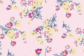 Sophie (Cotton) - 1 - Bunches of dark pink, light pink and yellow flowers with dusky blue stems on a light pink cotton fabric background