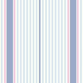 Sophie Stripe (Linen Union) - 2 - Linen fabric with a repeated design of denim blue, light blue, pink and white stripes