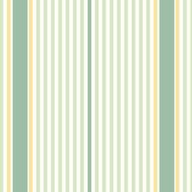 Sophie Stripe (Cotton) - 3 - White cotton fabric printed with a striped design in yellow and two different shades of green