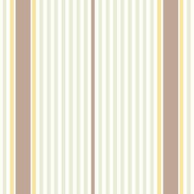 Sophie Stripe (Linen Union) - 4 - Stripes of brown, yellow, white and pale green-grey of different widths printed on fabric made from linen