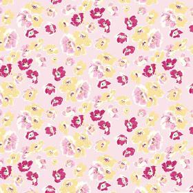 Coco (Cotton) - 1 - Rough dark pink, light pink and yellow flowers printed on a pale pink cotton fabric background