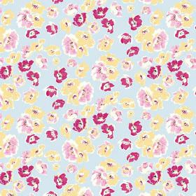 Coco (Cotton) - 2 - Light blue cotton fabric patterned with rough flowers in light pink, dark pink and yellow